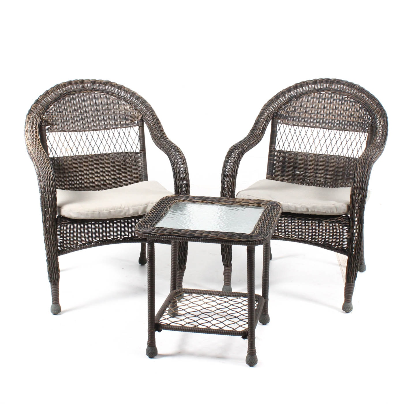 Outdoor Wicker Chairs and Side Table