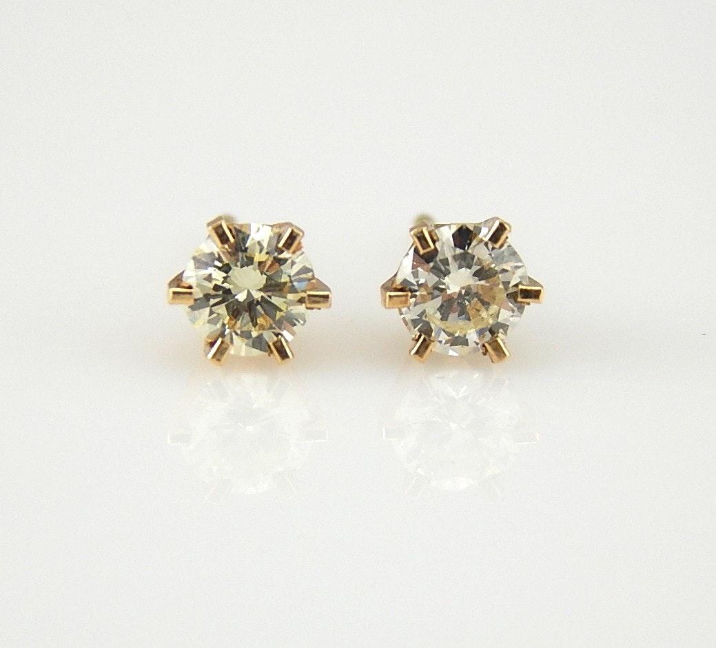 14K Yellow Gold 0.52 CTW Diamond Stud Earrings
