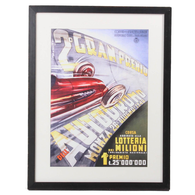 """Plinio Codognato """"2° Gran Premio dell'Autodromo di Monza"""" Giclee Poster"""