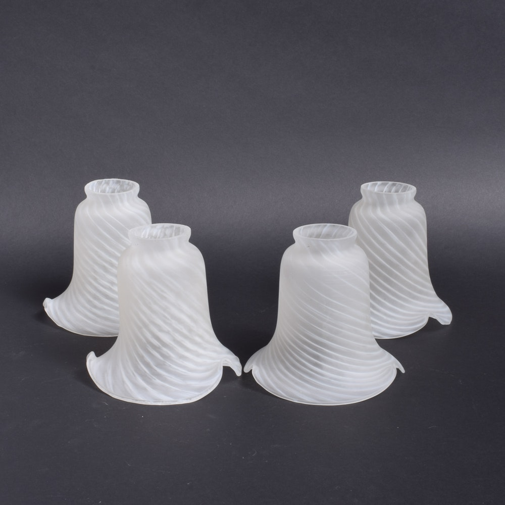 Vintage Ruffled Swirl Glass Shades