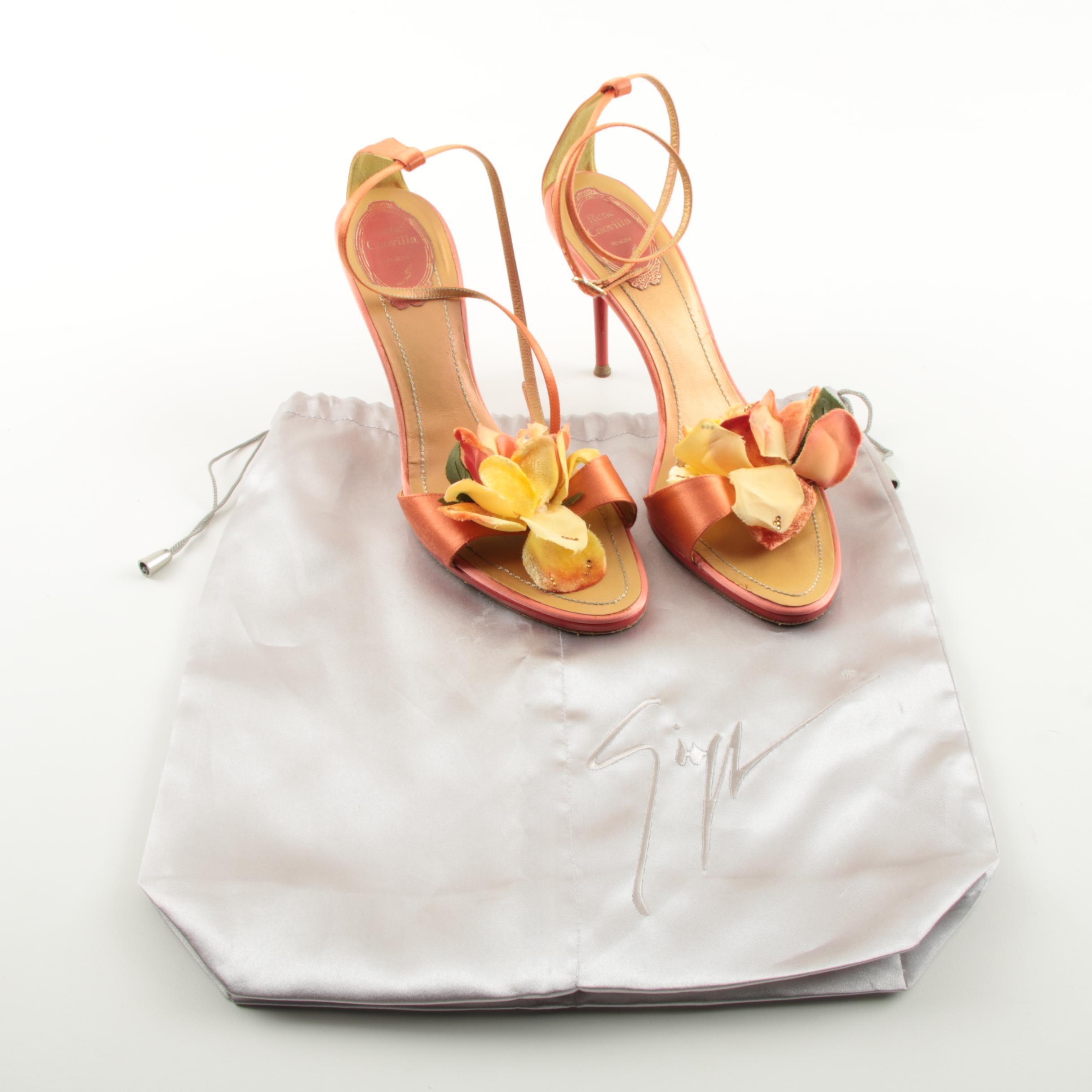 Rene Caovilla Tangerine Silk and Floral Stiletto High Heels