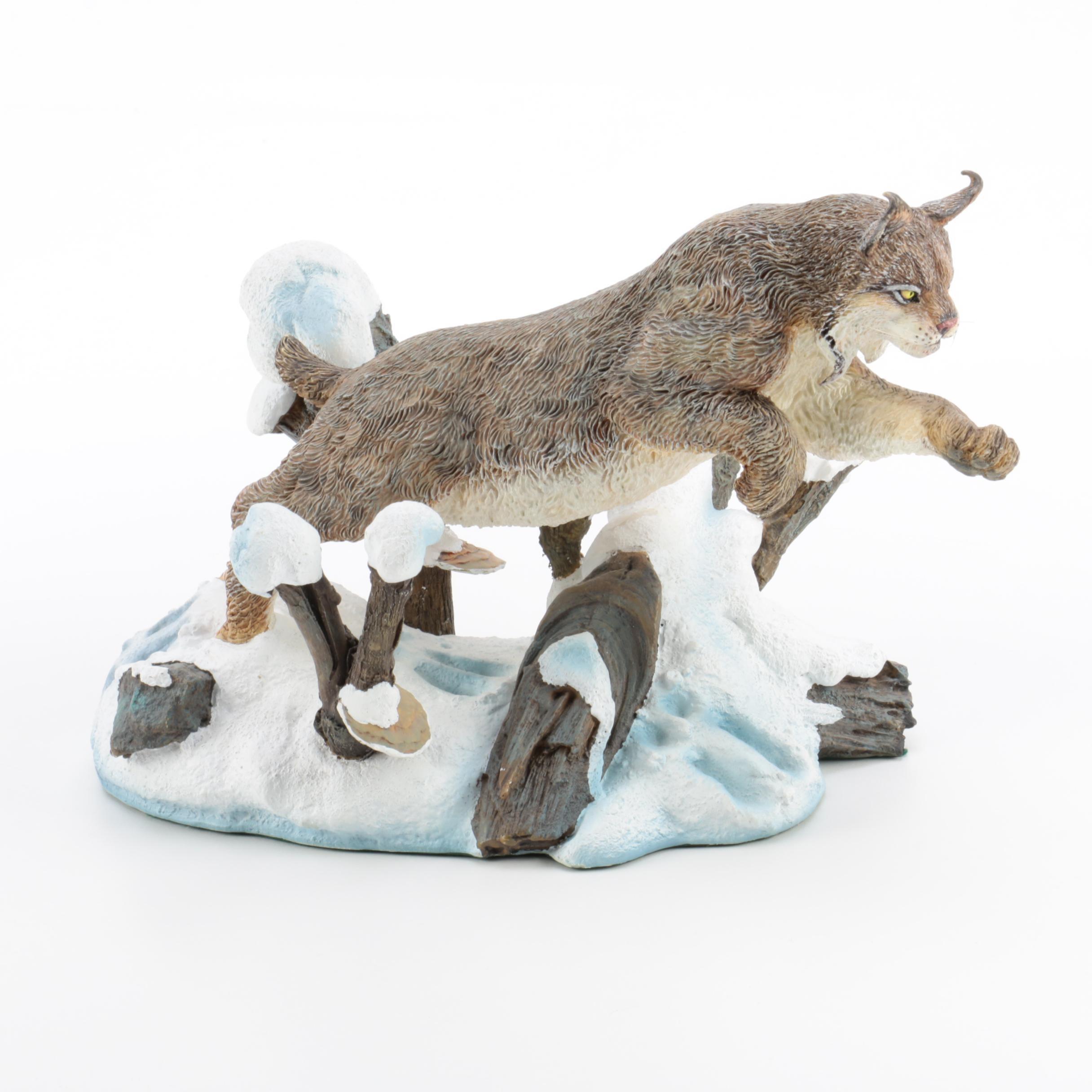 "Danbury Mint ""Winter Chase"" Bobcat Figurine by Nick Bibby"