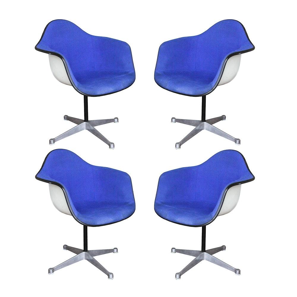 Eames for Herman Miller Blue Upholstered Molded Fiberglass Chairs