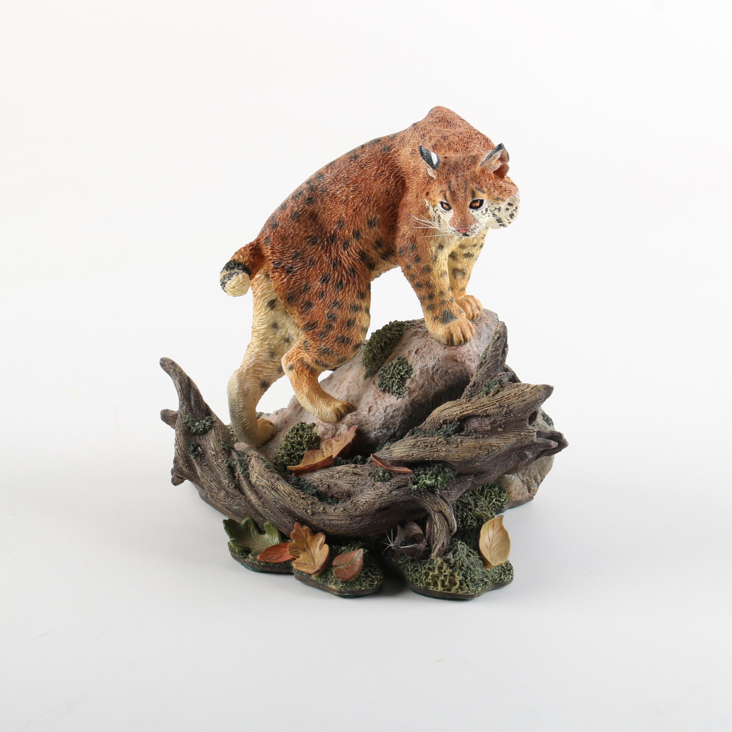 """Danbury Mint Bobcat Figurine """"On the Prowl"""" by Nick Bibby"""