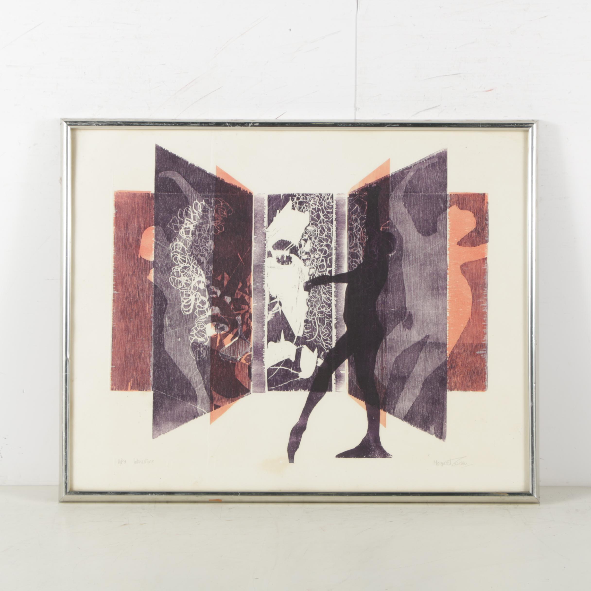 "Margaret Gosden Woodcut Print ""Interactions"""