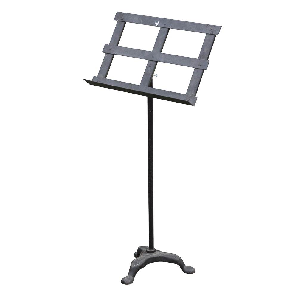 Vintage Adjustable Black Metal Music Stand