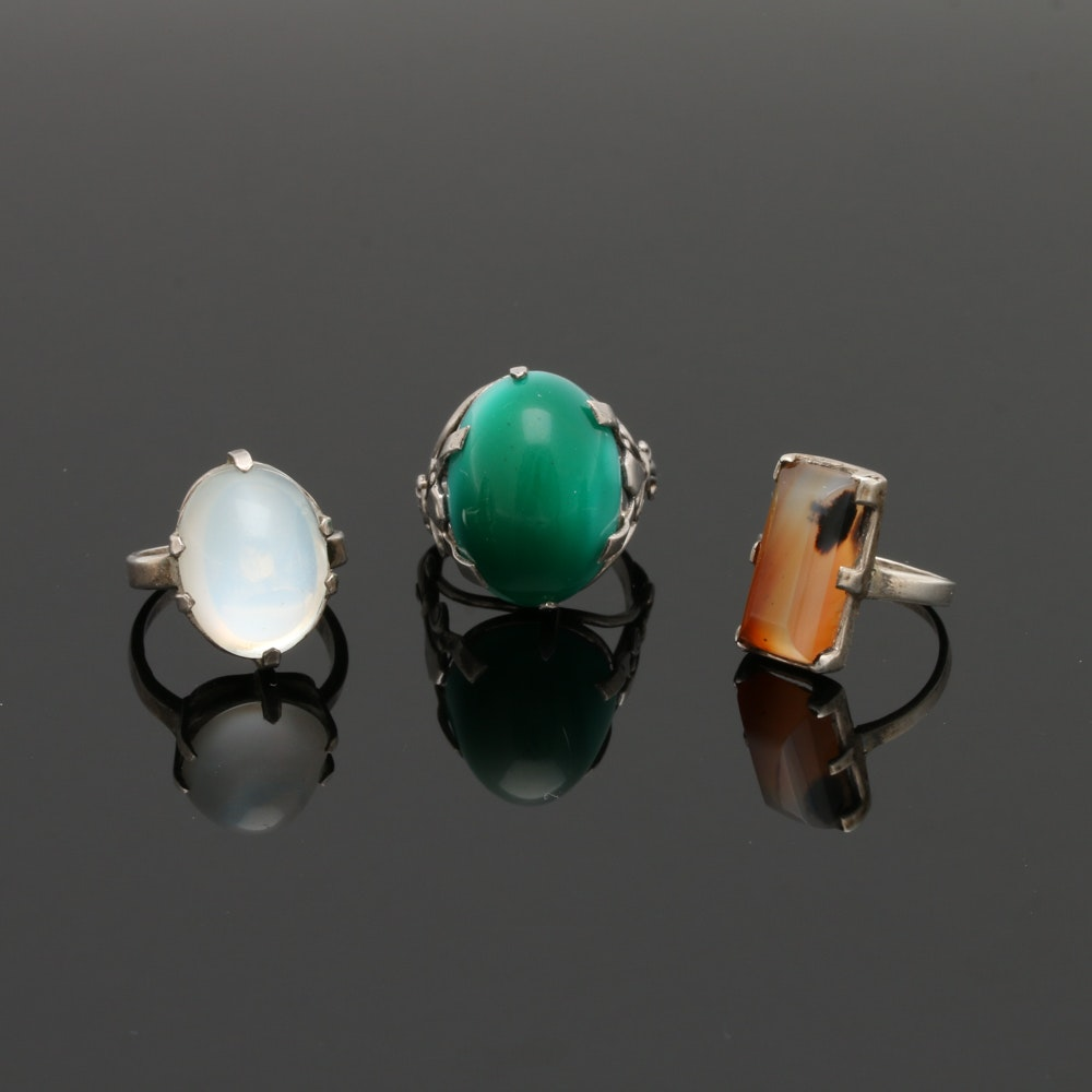Vintage Sterling Silver Rings Including Agate