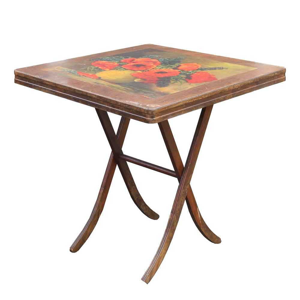 Vintage Folding Table with Painted Still Life Top