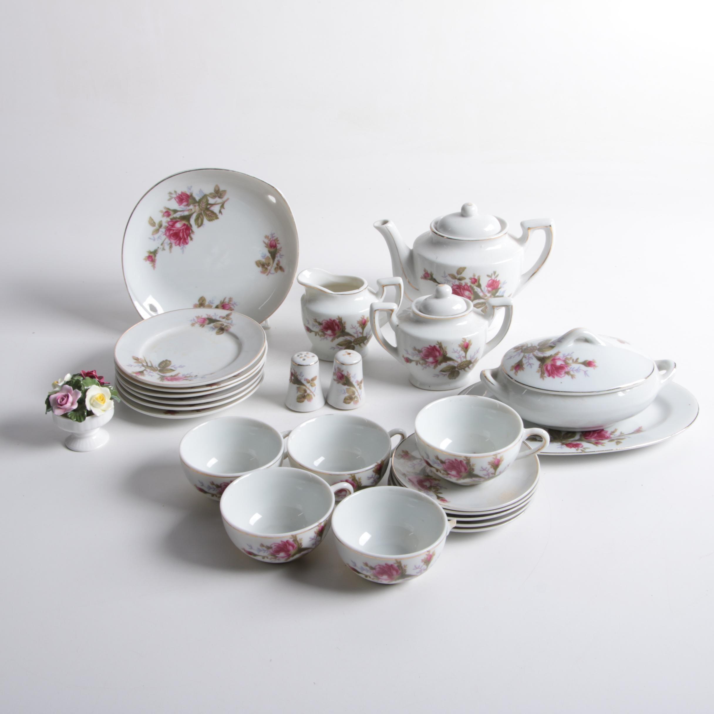 Japanese Porcelain Tea Set with Anysley Bone China Figurine