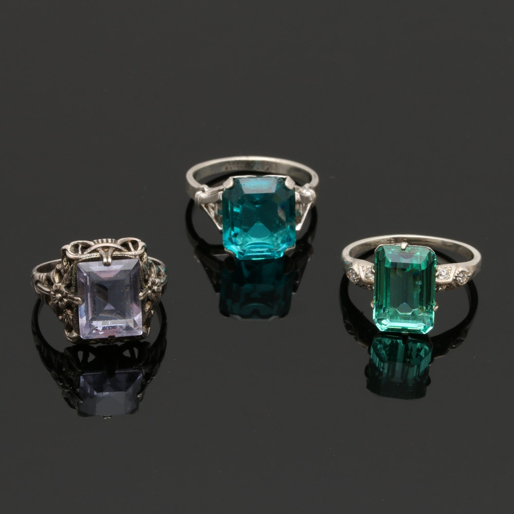 Vintage Sterling Silver Glass Rings