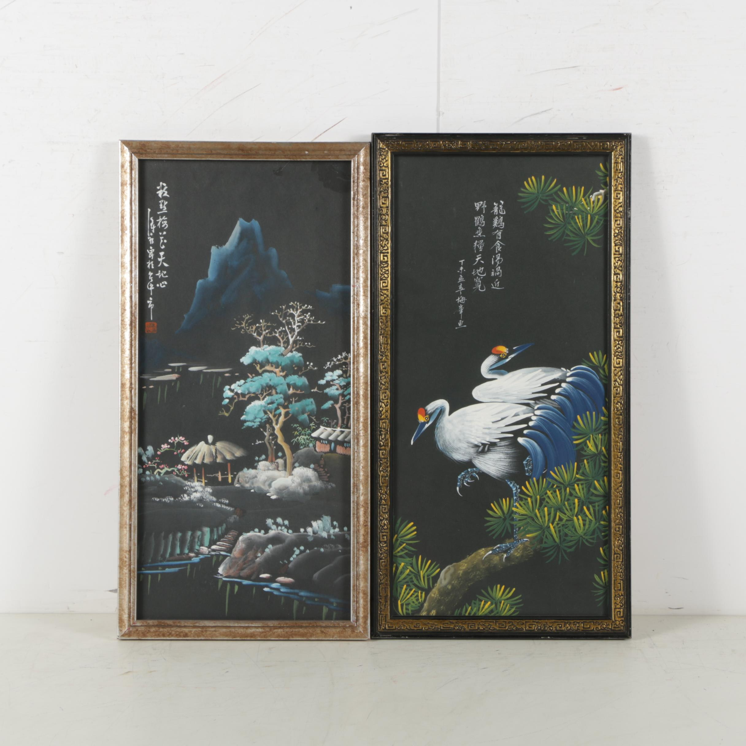 Chinese Style Gouache Paintings of Cranes and Landscape