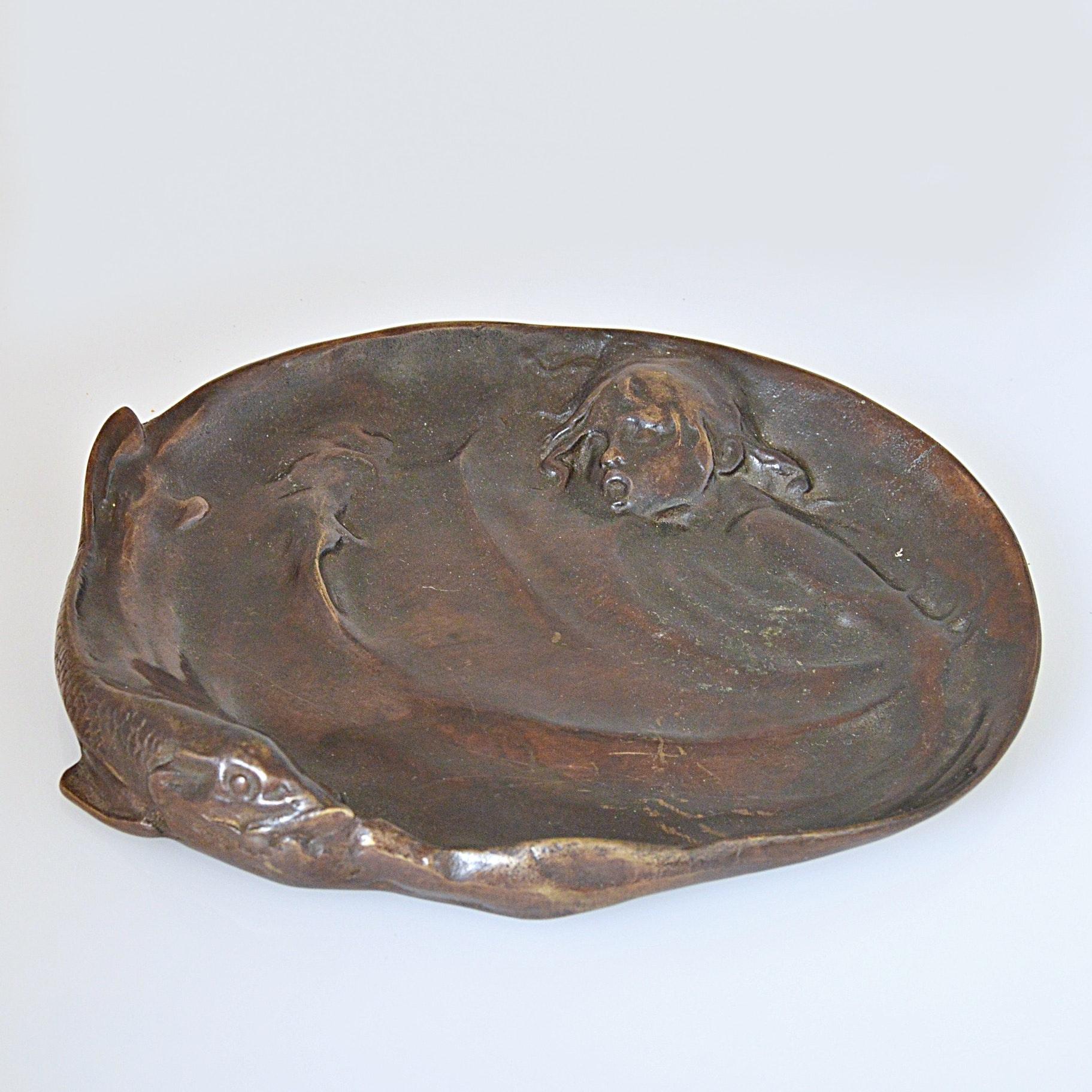 Art Nouveau Bronze Tray with Fish and Swimming Child