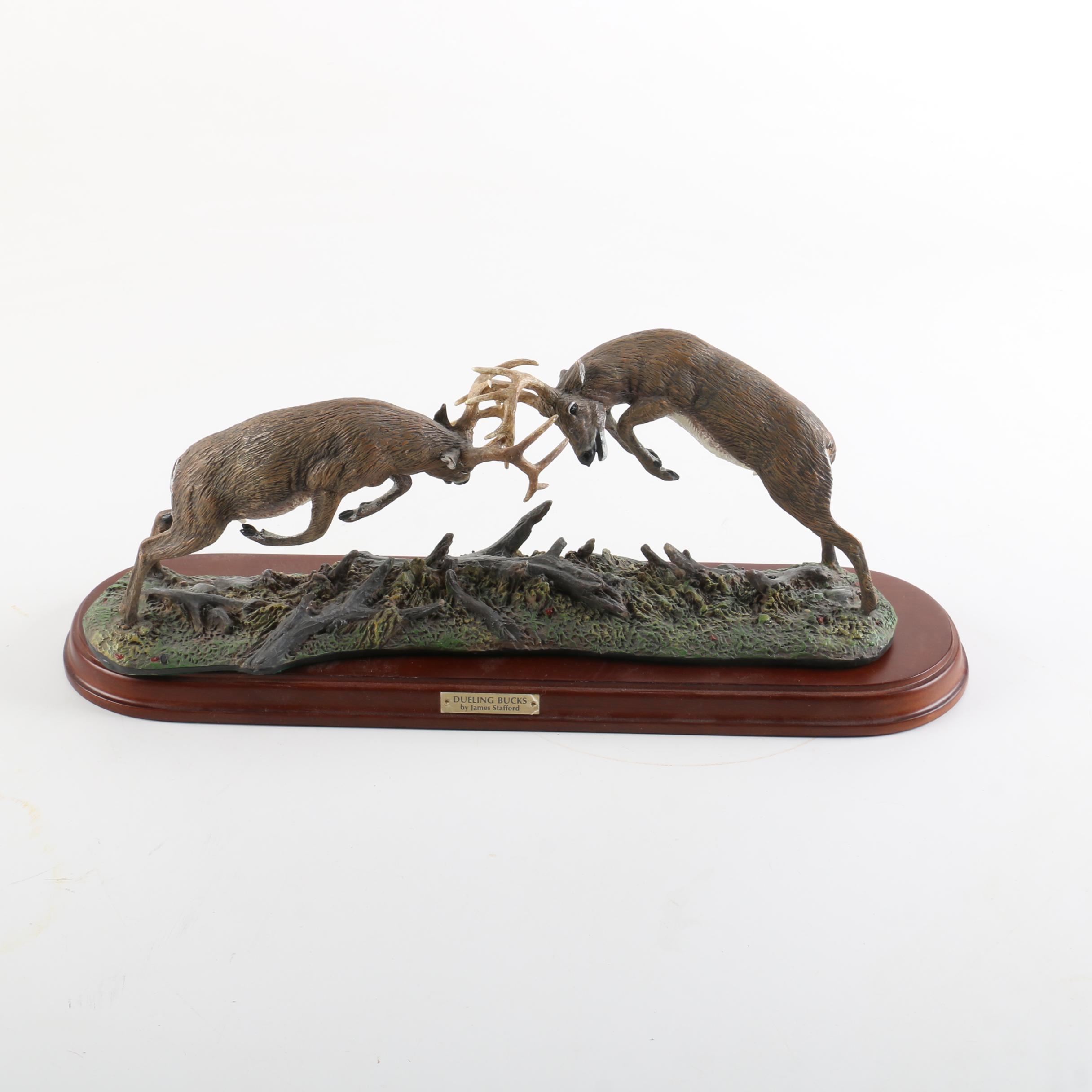 "Danbury Mint ""Dueling Bucks"" Resin Figurine by James Stafford"