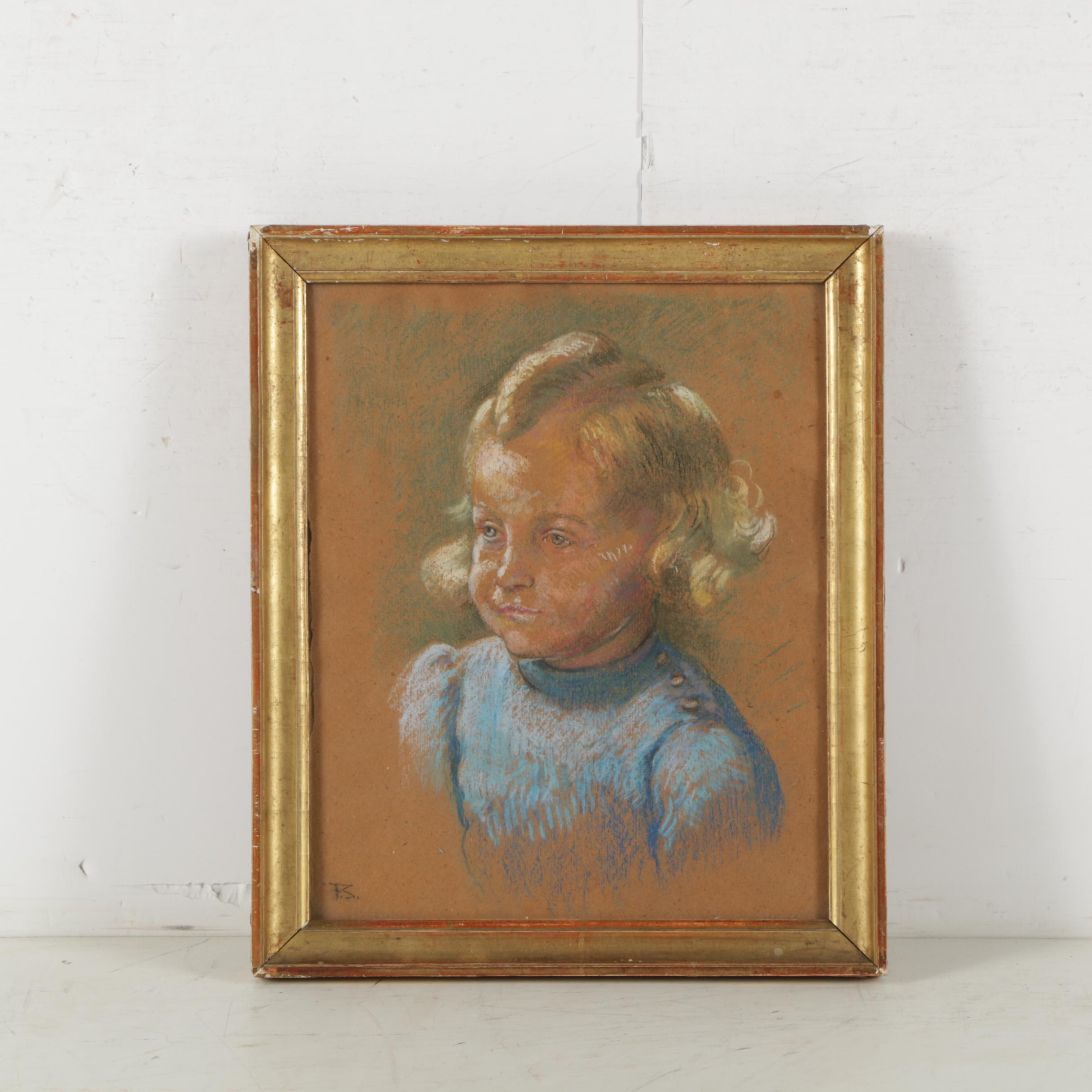 F.S. Pastel Drawing of Young Child