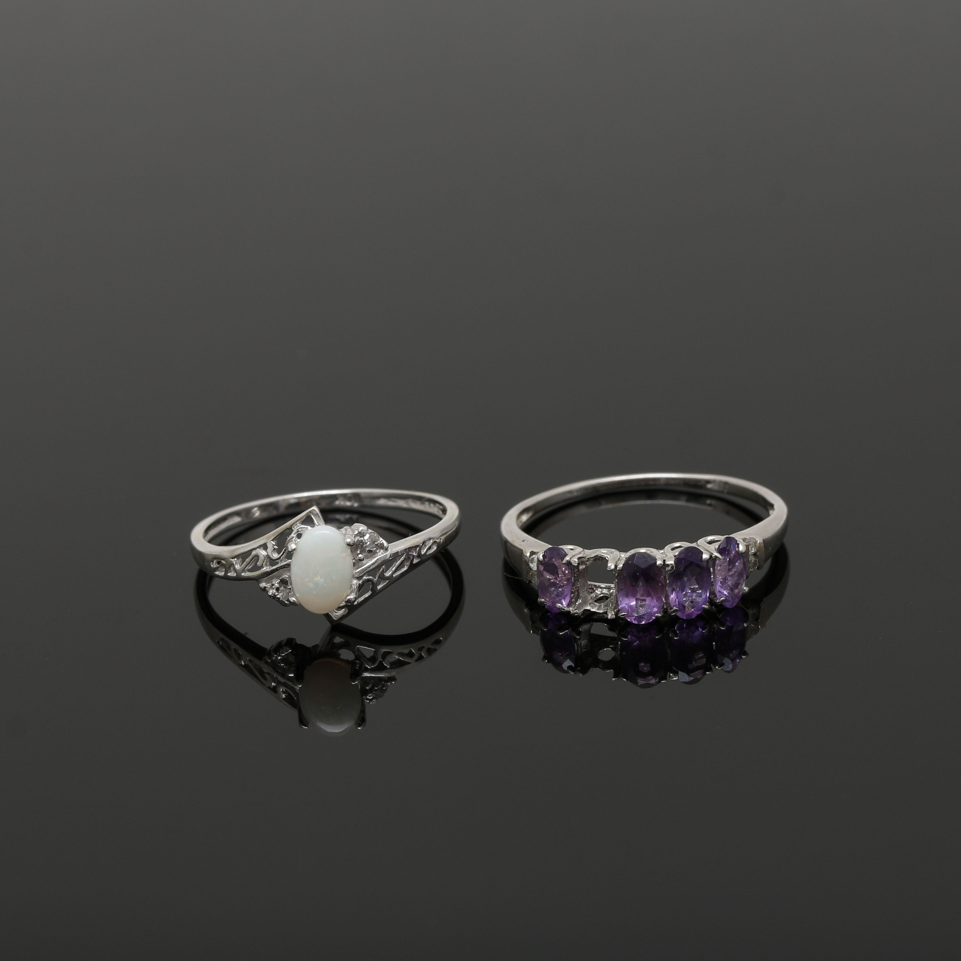 10K White Gold Diamond Rings With Amethyst and Opal