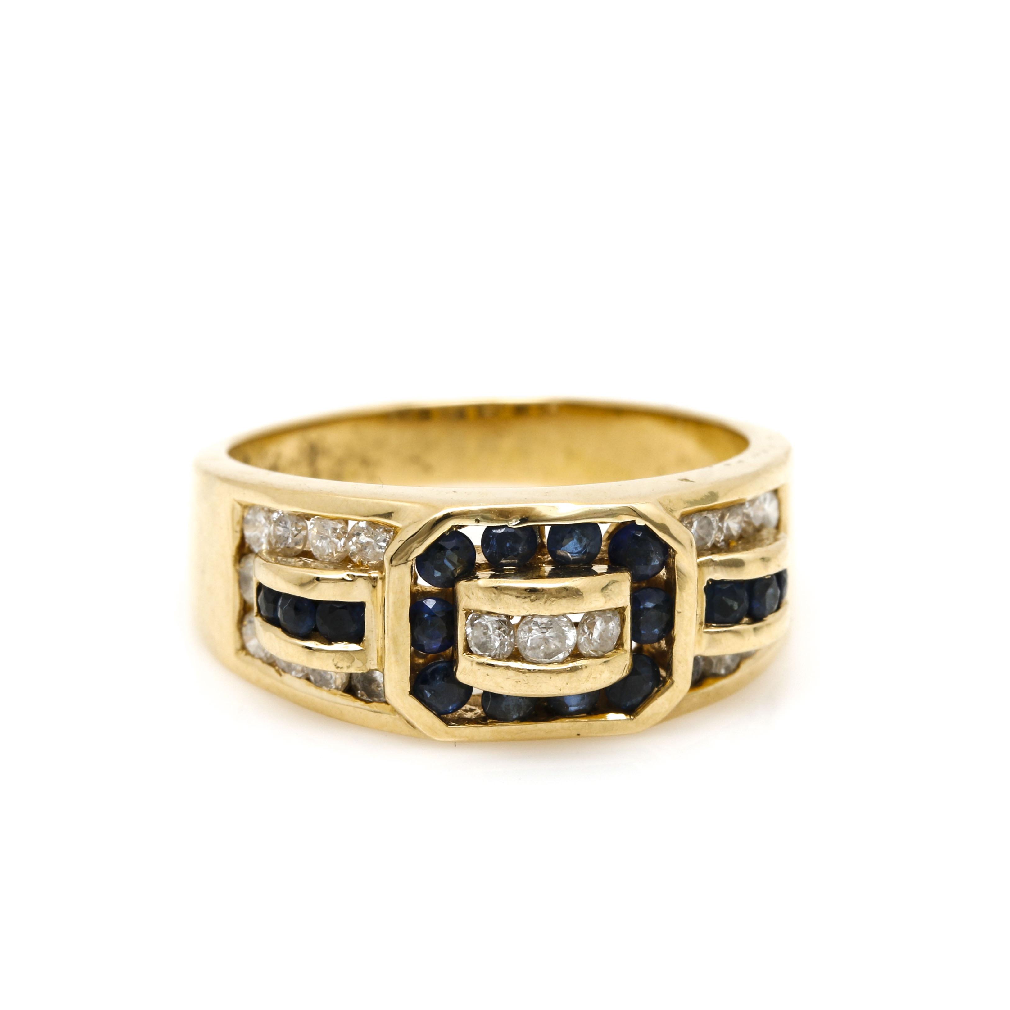 18K Yellow Gold Diamond and Sapphire Ring