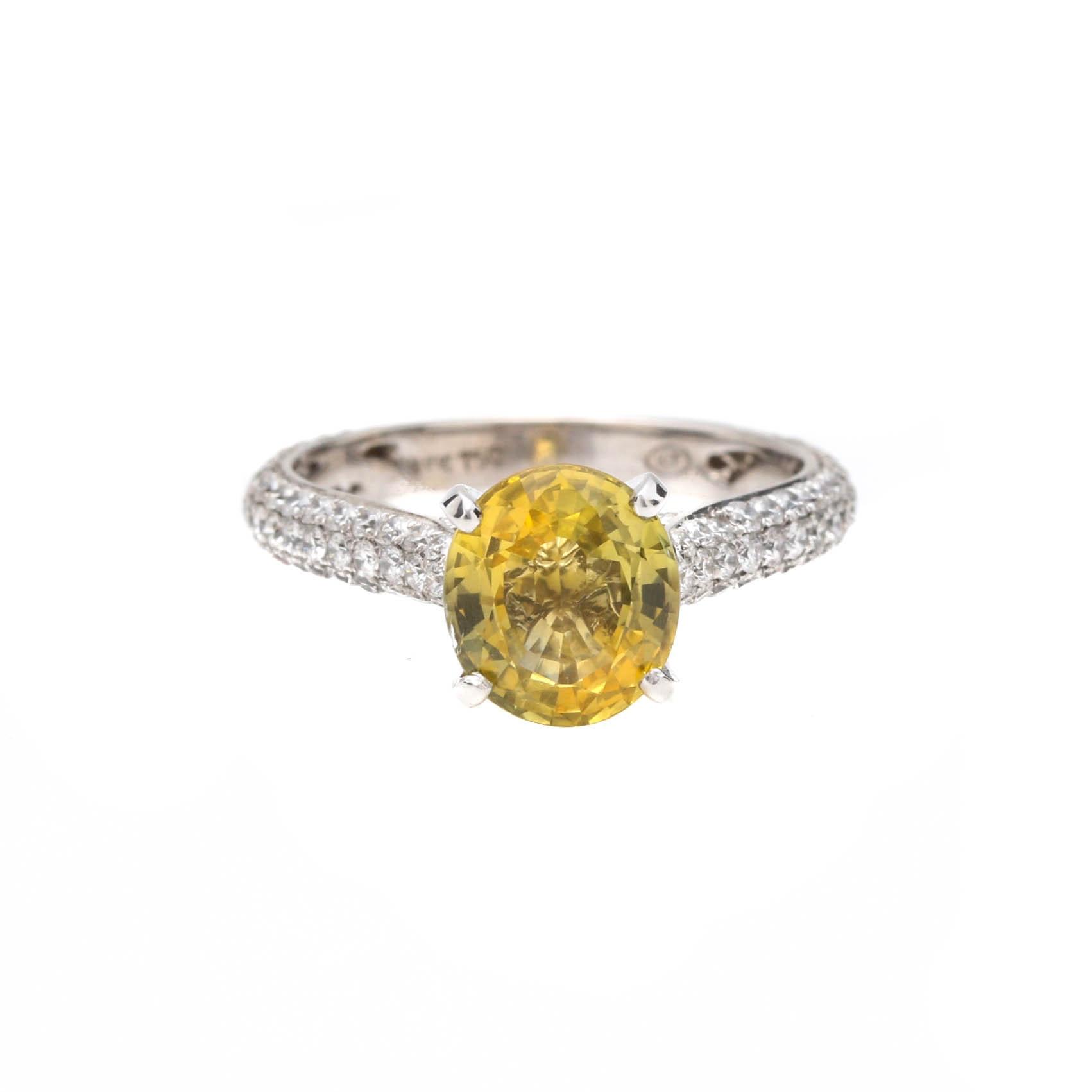 18K White Gold 2.00 CT Yellow Sapphire and Diamond Ring