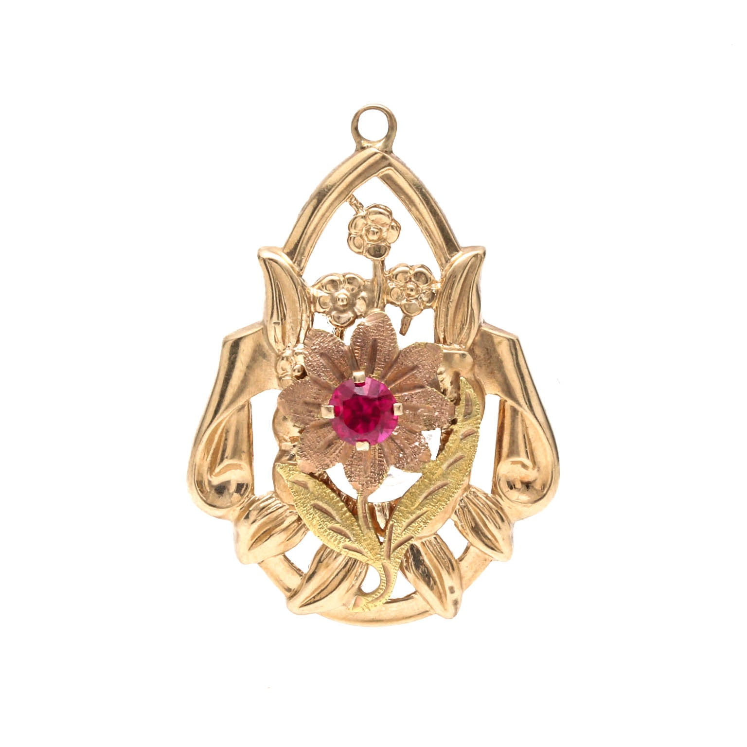 10K Yellow Gold Synthetic Ruby Floral Pendant