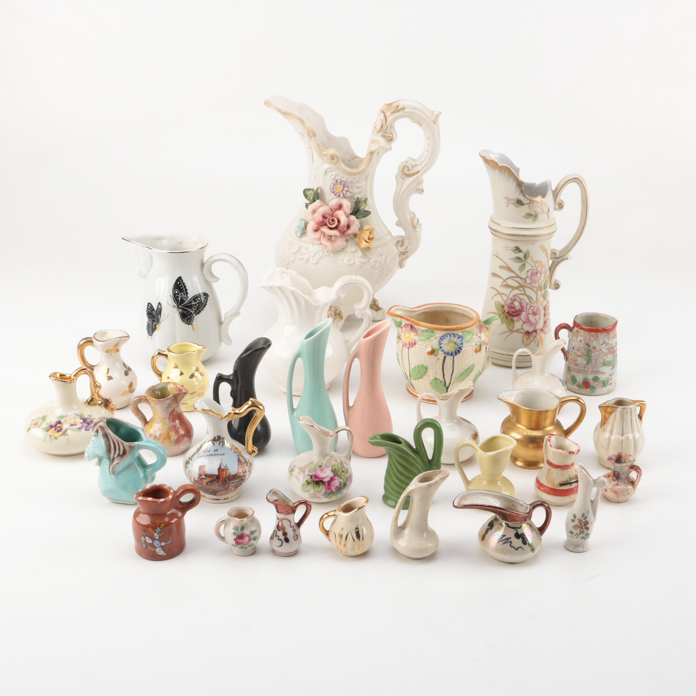 Vintage Jugs and Creamers Including Limoges and Pickard