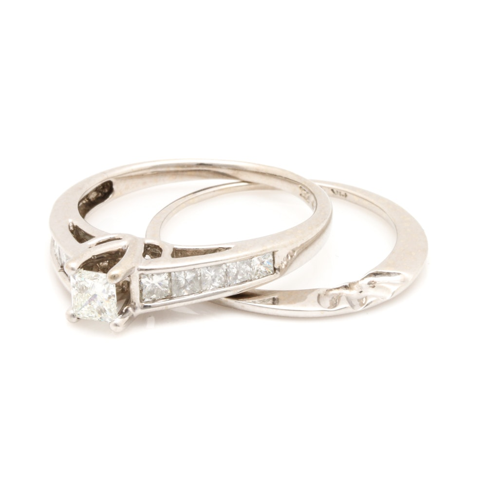 14K White Gold 1.08 CTW Diamond Bridal Ring Set