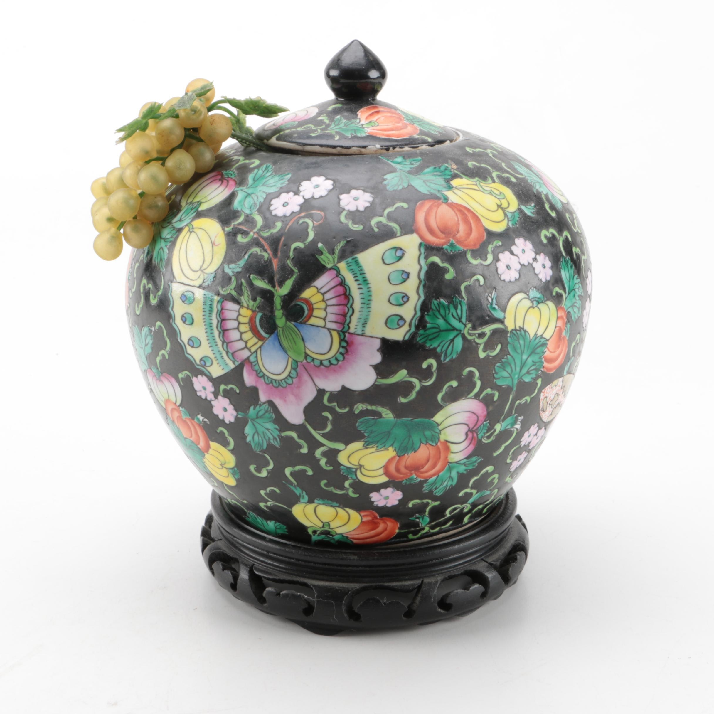 Hand Painted Chinese Ceramic Urn with Stand