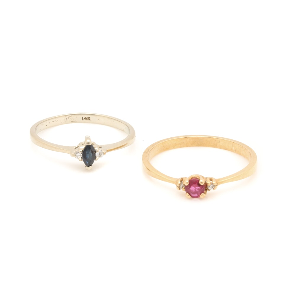 Selection of 14K Diamond Rings Including Ruby and Sapphire