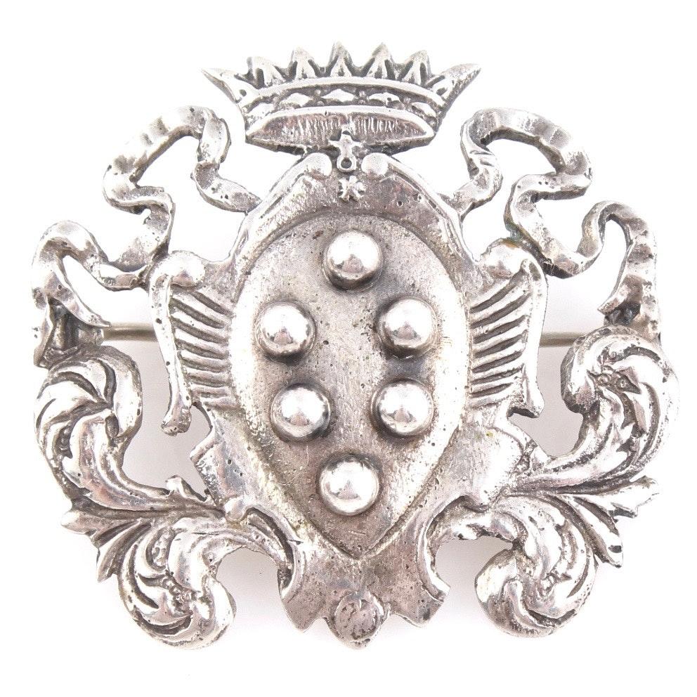 Vintage Peruzzi Italian 800 Silver Brooch