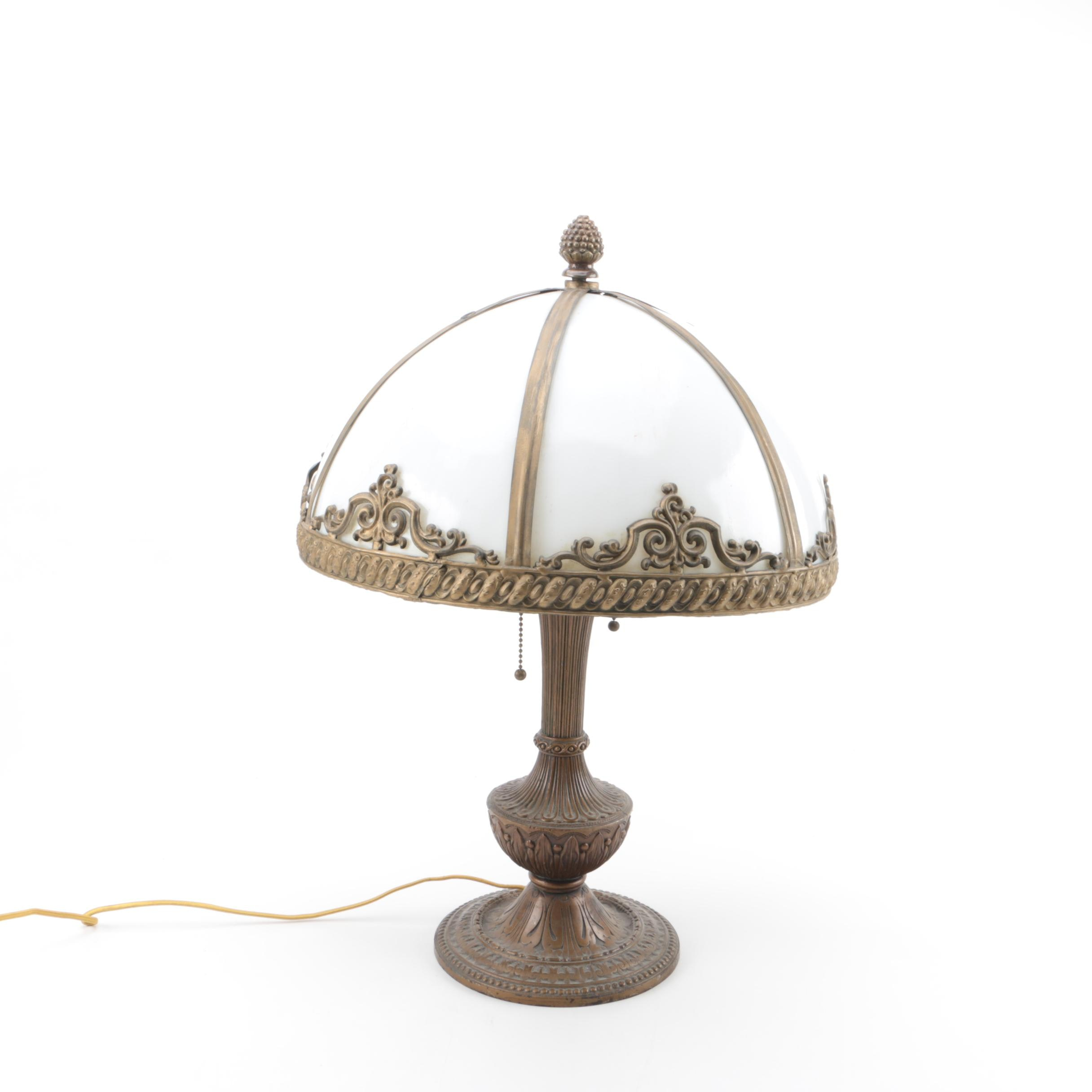 Vintage Brass Slag Glass Table Lamp