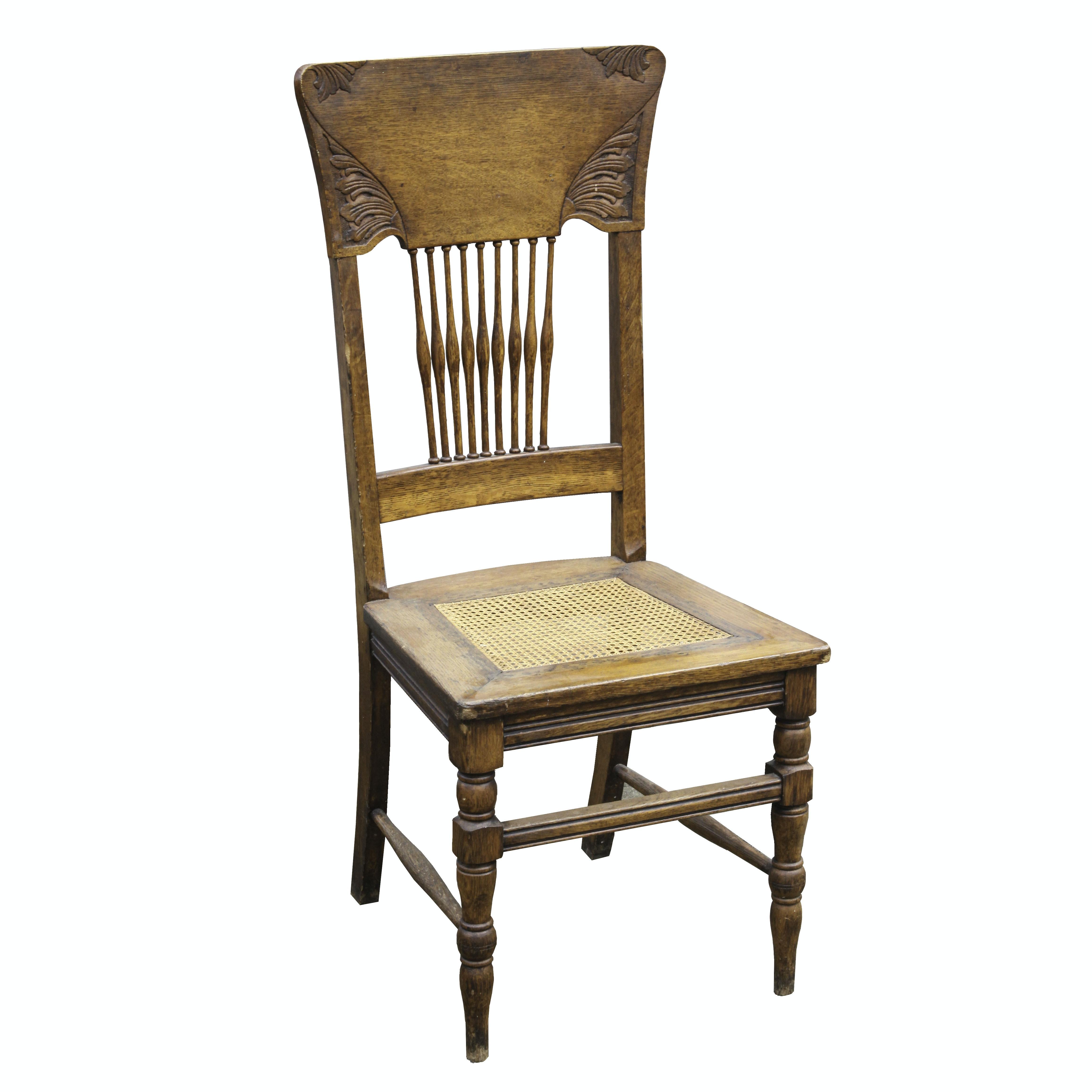 Vintage High Back Oak Caned Side Chair