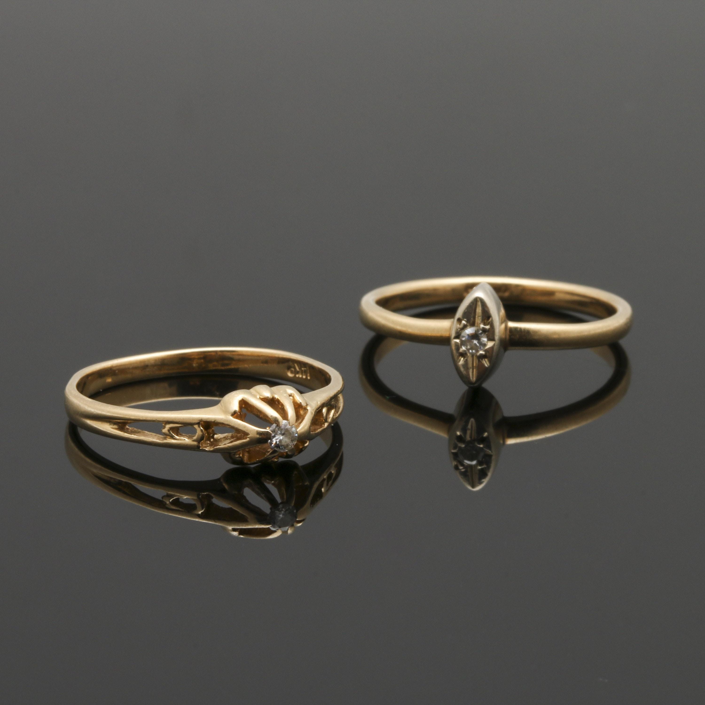 14K Yellow Gold Diamond Ring Selection