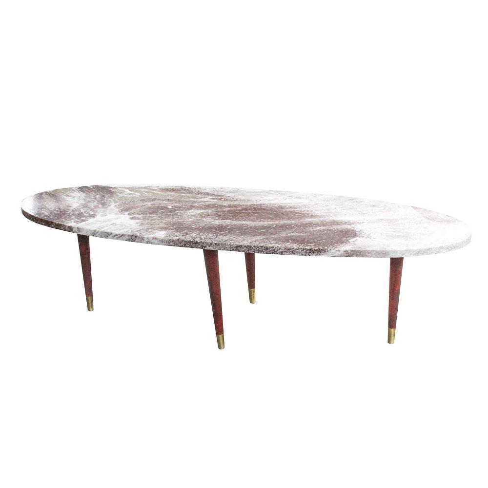 Mid Century Modern Stone Top Coffee Table