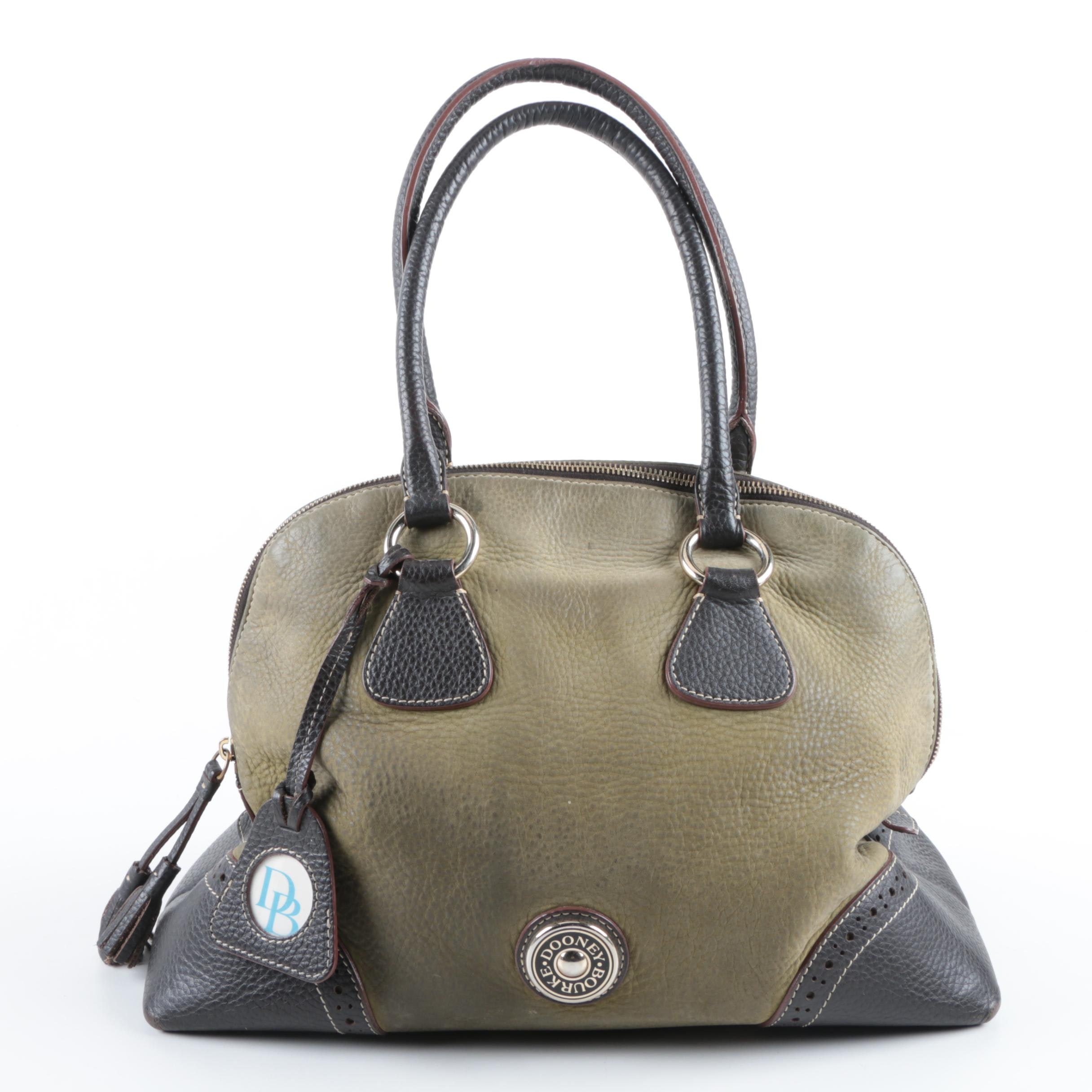 Dooney & Bourke Olive Green and Brown Leather Handbag