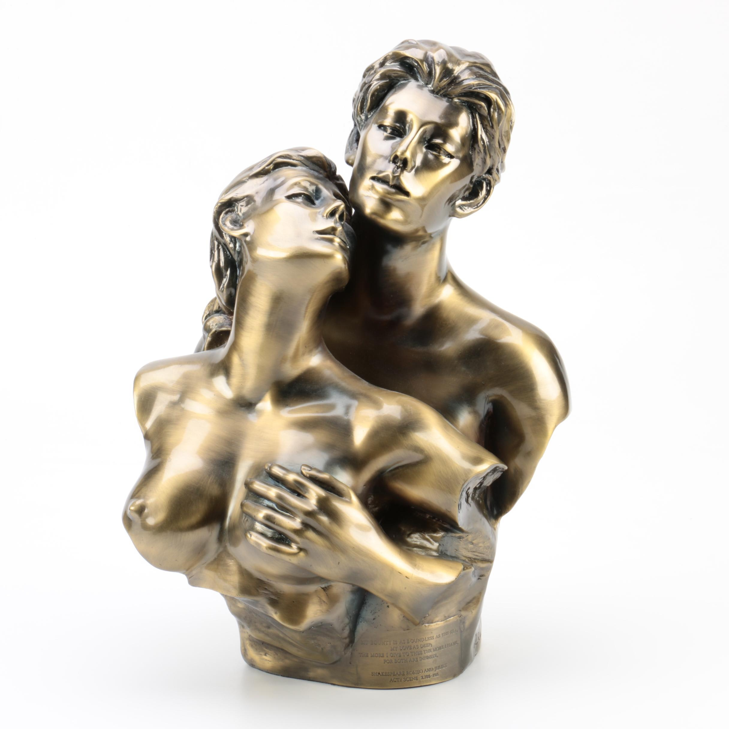 Resin Statue of a Couple with Romeo and Juliet Quote
