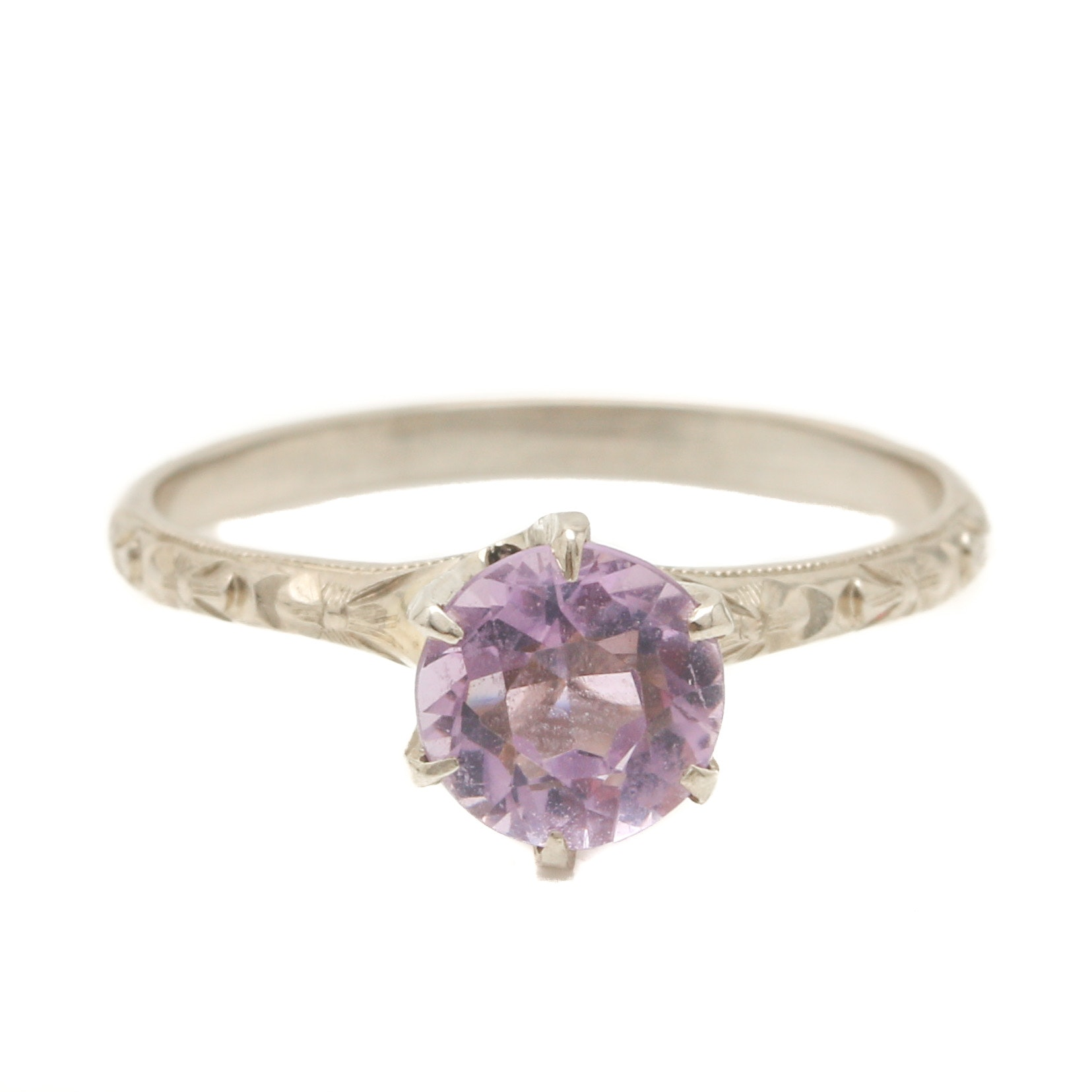 14K White Gold Amethyst Solitaire Ring