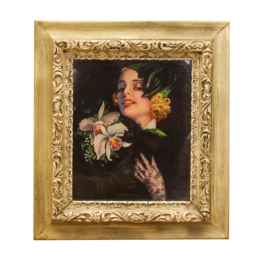 Vintage Offset Lithograph Glamour Print After Billy Devorss
