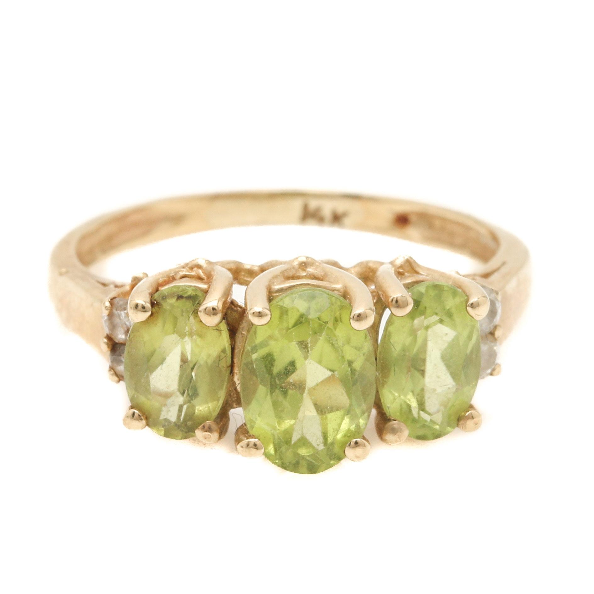 14K Yellow Gold Peridot Diamond Ring