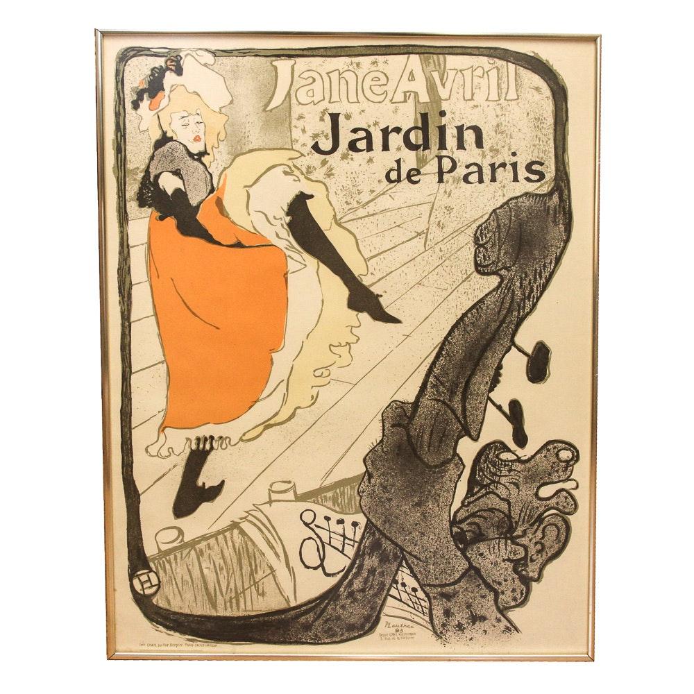 "Lithograph After Henri Toulouse-Lautrec ""Jane Avril"""