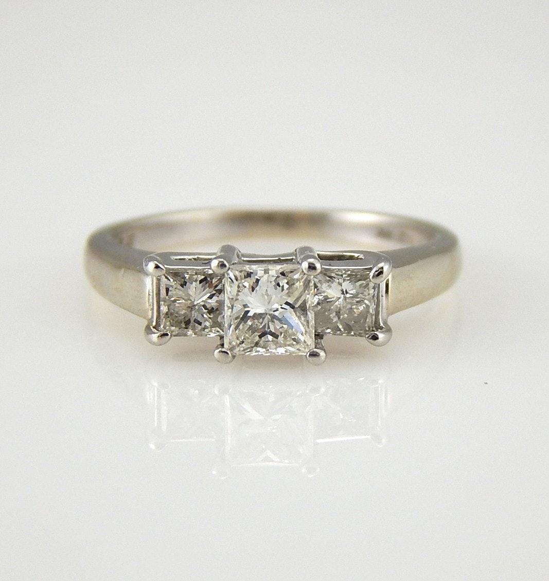 14K White Gold and Platinum Magic Glo 0.96 CTW Three-Diamond Engagement Ring