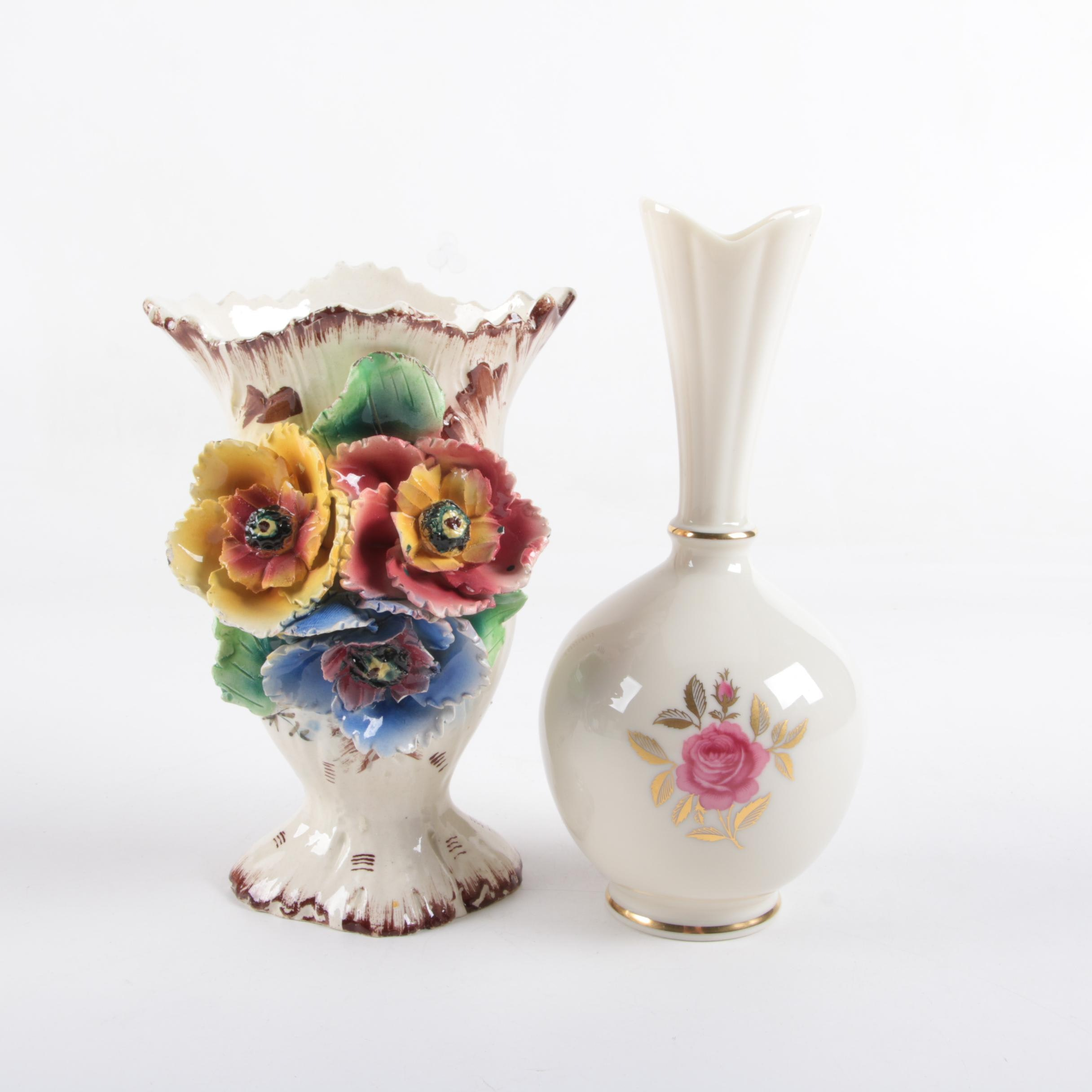 "Vintage Lenox ""Rhodora"" Porcelain Vase and Hand-Painted Italian Ceramic Vase"