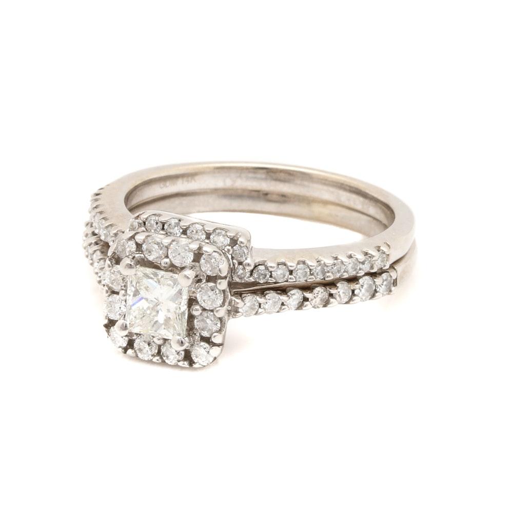14K White Gold 1.16 CTW Diamond Nesting Ring Set