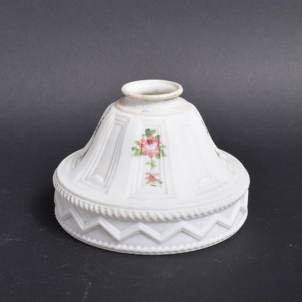 Vintage Milk Glass Shade with Hand-Painted Rose Decorations
