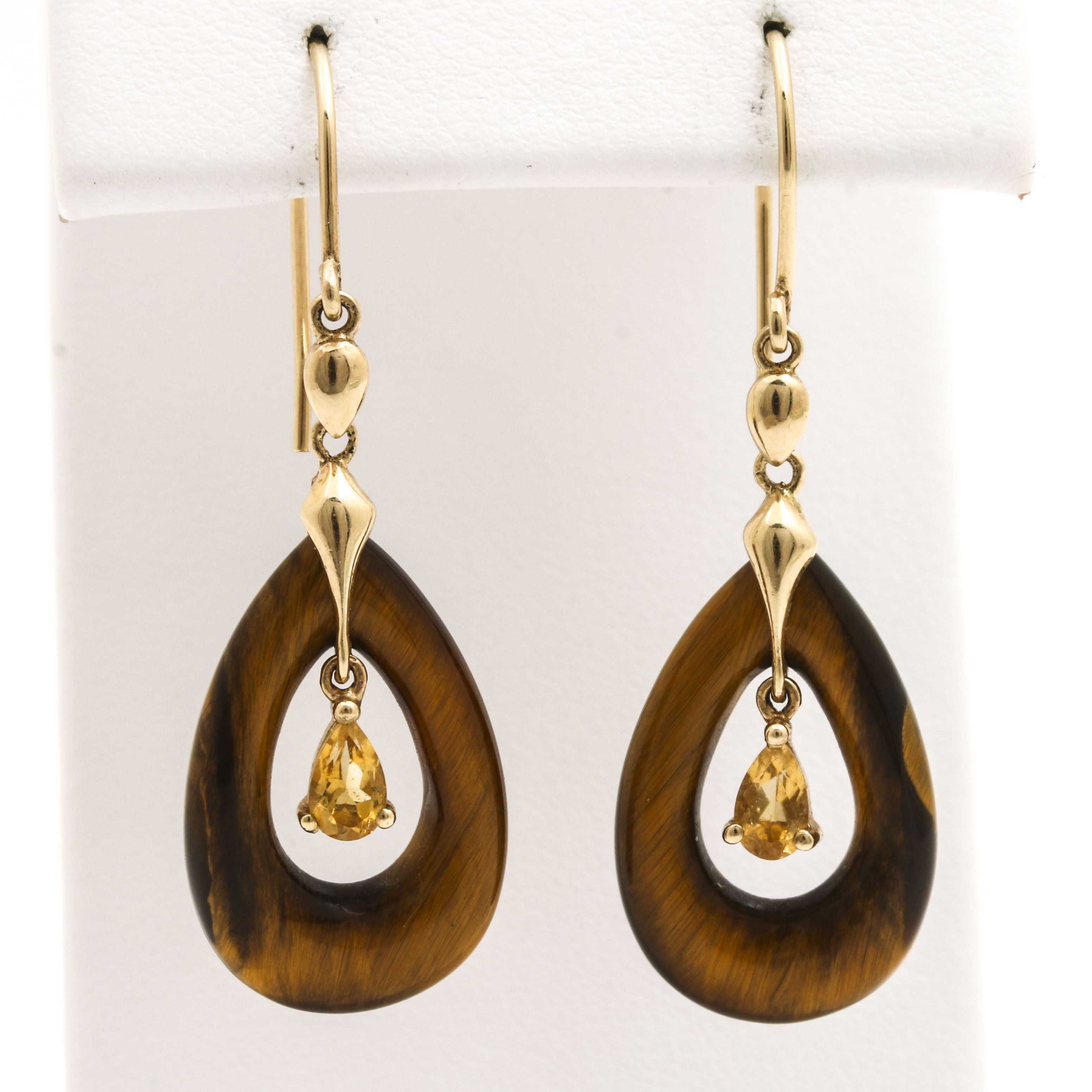 14K Yellow Gold Citrine and Tiger's Eye Dangle Earrings