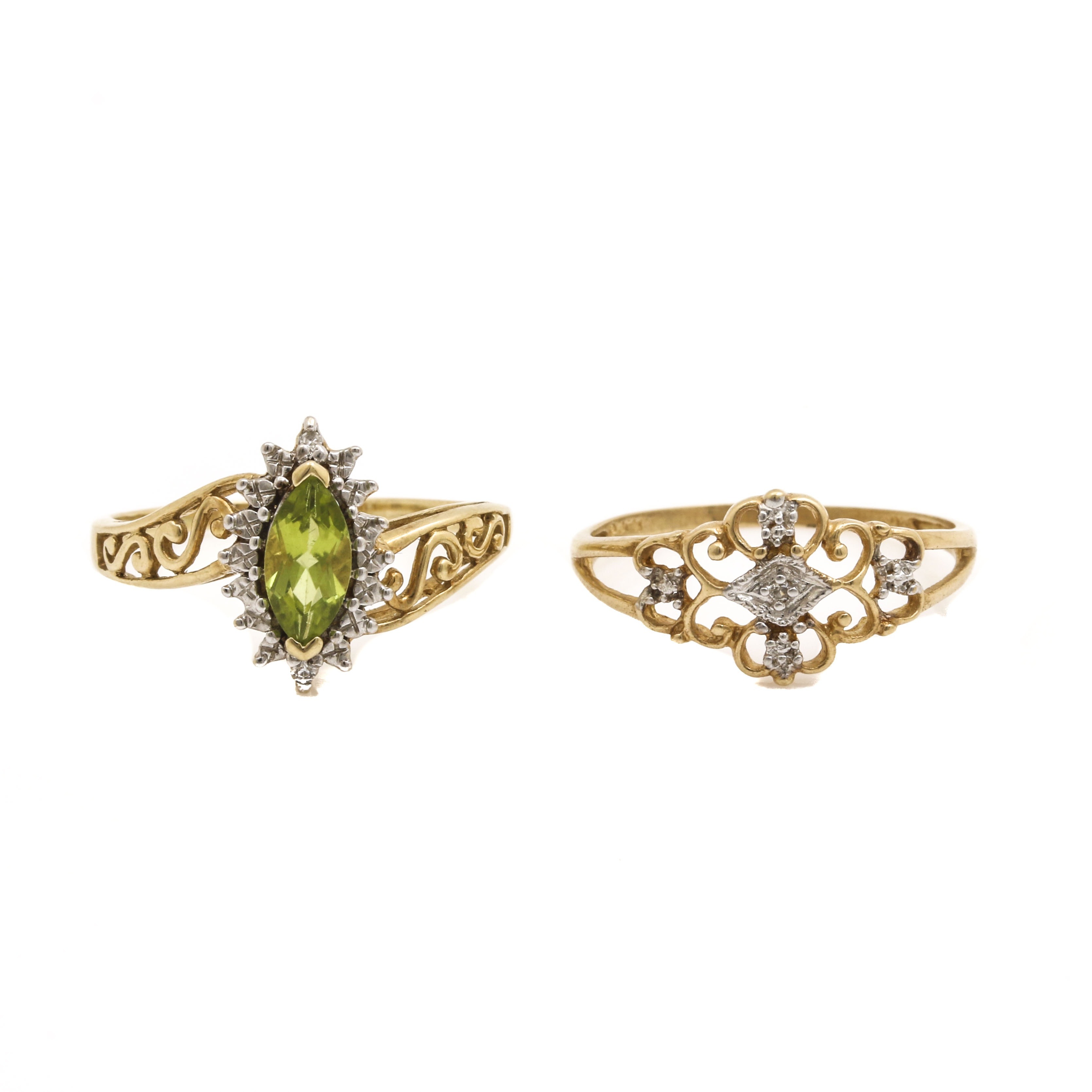 10K Yellow Gold Rings Including Diamonds and Peridot