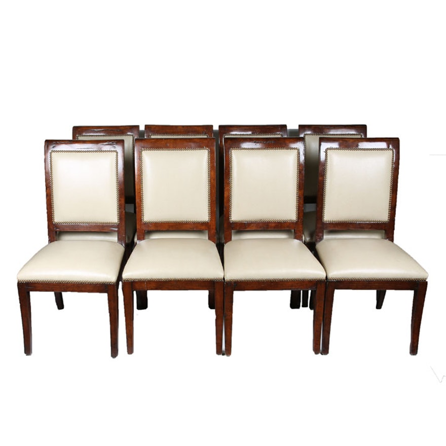 Eight Vintage Empire Style Walnut And Upholstered Dining Chairs EBTH