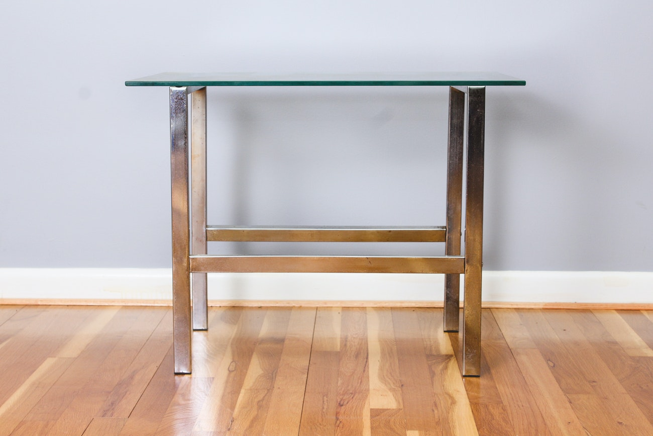 Pair of Contemporary Glass and Chrome End Tables