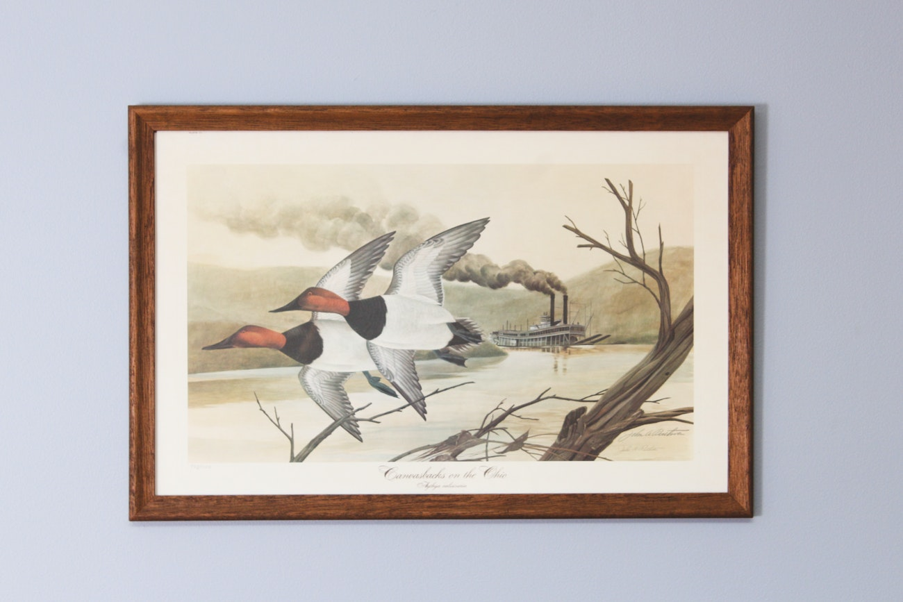 "John Ruthven Signed Offset Lithograph ""Canvasbacks on the Ohio"""
