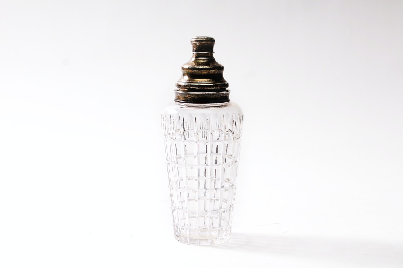 Cartier Sterling Capped Crystal Cocktail Shaker