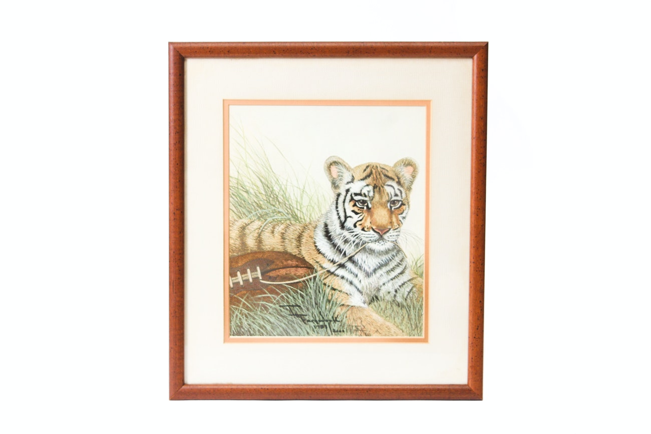 """Imogene Farnsworth Offset Lithograph After Painting """"Bengal Cub with Football"""""""