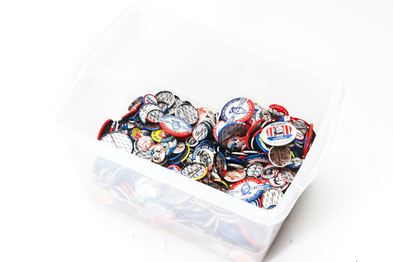 Large Collection of Campaign Buttons