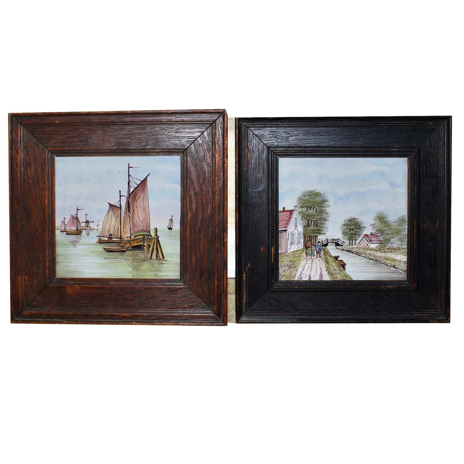Two Framed Hand Painted Ceramic Tiles